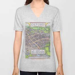 OXFORD university map ENGLAND dorm decor Unisex V-Neck