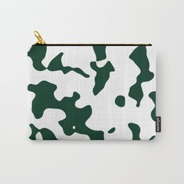 Large Spots - White and Deep Green Carry-All Pouch