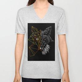 Geometric Fox, Black version Unisex V-Neck