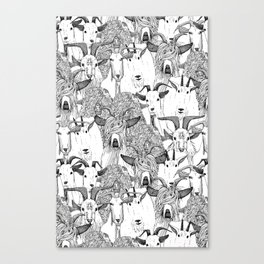just goats black white Canvas Print