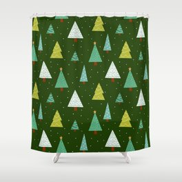 Holly Jolly Christmas Trees - Green Shower Curtain