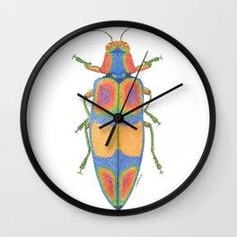 handmade *Chrysachroa fulgens* pointillism insect illustration - dot joe Wall Clock