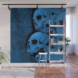 Blue skull pattern Wall Mural