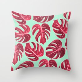 Modern Mint Blue Fuchsia Pink Faux Rose Gold Monster Leaves Throw Pillow