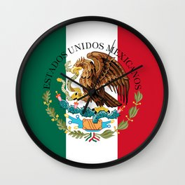Mexican flag (augmented scale) with Coat of Arms (overlaid) Wall Clock
