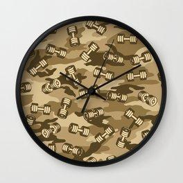 Dumbbell Gym Camo DESERT Wall Clock