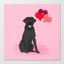 Black Labrador Retriever dog breed valentines day heart love balloons gifts black labs Canvas Print