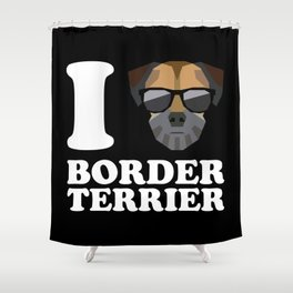 I Love Border Terrier modern v2 Shower Curtain