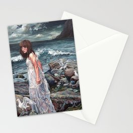 The Parting, Oil Painting Portrait of Woman on Rocky Beach with Seagulls During a Storm Stationery Cards