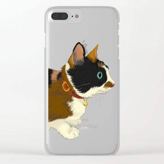 My cat in the dark Clear iPhone Case
