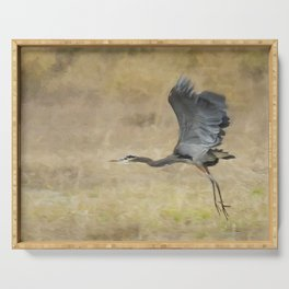 Heron Flying Abstract Serving Tray