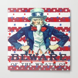 Beware of The Wrath of the Patient Man Stars And Stripes Metal Print