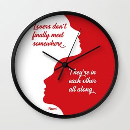 Rumi Lovers Quote Red Silhouette Wall Clock