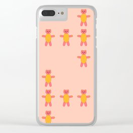 Pink bear print Clear iPhone Case