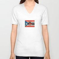 puerto rico V-neck T-shirts featuring Old Vintage Acoustic Guitar with Puerto Rican Flag by Jeff Bartels