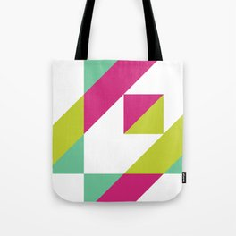 Hot Pink and Neon Chartreuse Color Block Tote Bag