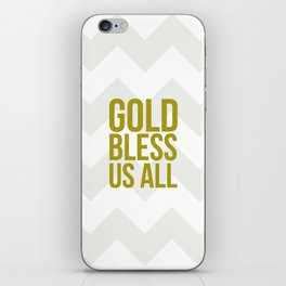 Gold Bless Us All Chevron Print iPhone Skin