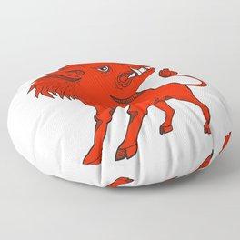 Red Razorback Doodle Art Floor Pillow