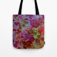 vintage floral Tote Bags featuring vintage floral by clemm
