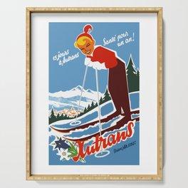 Vintage Autrans France Ski Travel Serving Tray