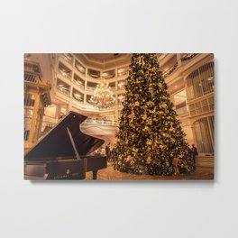 Piano Stands In Front of a Christmas Tree at the Grand Floridian Metal Print