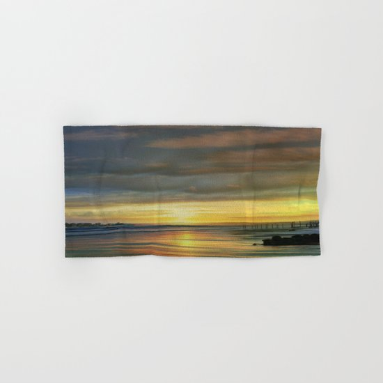 Captivating Sunset Over The Harbor  Hand & Bath Towel
