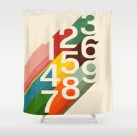 retro Shower Curtains featuring Retro Numbers by Picomodi