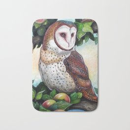 Barn Owl in Apple Tree Bath Mat
