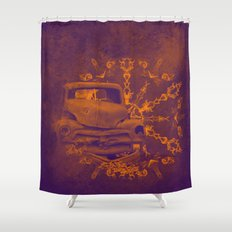 Abstract rusty car in purple and orange Shower Curtain