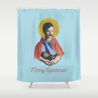 writing Shower Curtains featuring Merry Queermas (Writing) by fabiotir
