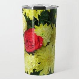 yellow flower,spring flowers, floristics, flowers, pattern, floral, beautiful, colored, floral arran Travel Mug