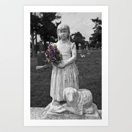 Girl Statue With Purple Roses Art Print