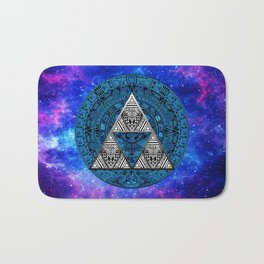 Triforce Circle With Blue Nebula Bath Mat