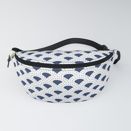 Blue and white Japanese style geometric pattern Fanny Pack