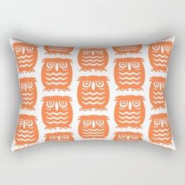 Mid Century Owl Pattern Orange Rectangular Pillow
