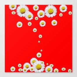 CHINESE RED WHITE DAISIES MODERN ART Canvas Print