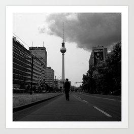 a boy on an empty street Art Print