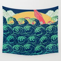 squid Wall Tapestries featuring Squid on the waves by Julia Minamata