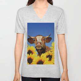 Happy Cow with Sunflowers Unisex V-Neck