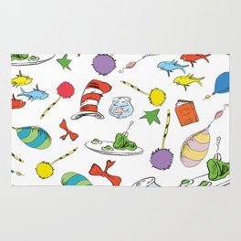 dr seuss pattern..  cat in the hat, lorax, oh the places you'll go,  Rug