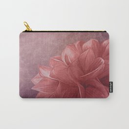 Drawing flower on old vintage color grunge paper background Carry-All Pouch