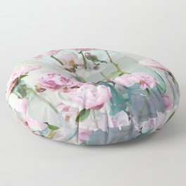 Peonies Cottage Aqua Pink Shabby Chic Watercolor Peony Prints Home Decor Floor Pillow
