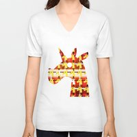plaid V-neck T-shirts featuring Plaid Unicorn by That's So Unicorny