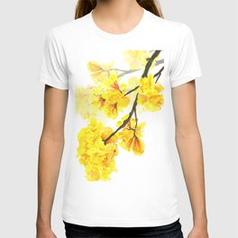 yellow trumpet trees watercolor yellow roble flowers yellow Tabebuia T-shirt