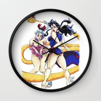 dbz Wall Clocks featuring DBZ Pin Up 1 by Juan Pablo Cortes