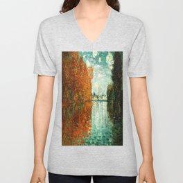 Monet : Autumn Effect at Argenteuil Unisex V-Neck