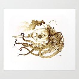 Nautilus Steampunk Octopus Art Print