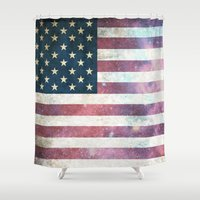 patriotic Shower Curtains featuring PATRIOTIC by alfboc