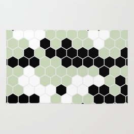 Honey Comb Light Green Geometric Pattern | Home Decor Rug