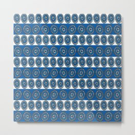 Blue Hearts Striped Metal Print